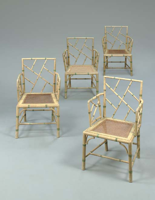 A SET OF FOUR GEORGE III GREEN AND WHITE-PAINTED COCKPEN ARMCHAIRS