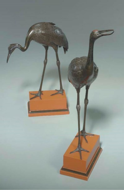 A PAIR OF JAPANESE PATINATED B