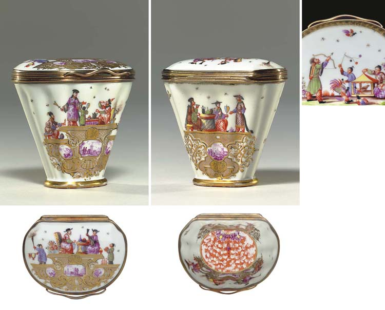 A SILVER-GILT MOUNTED MEISSEN CHINOISERIE SNUFF BOX