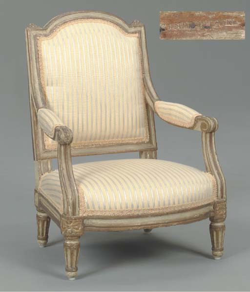 A LOUIS XVI GREY-PAINTED AND PARCEL-GILT FAUTEUIL D'ENFANT