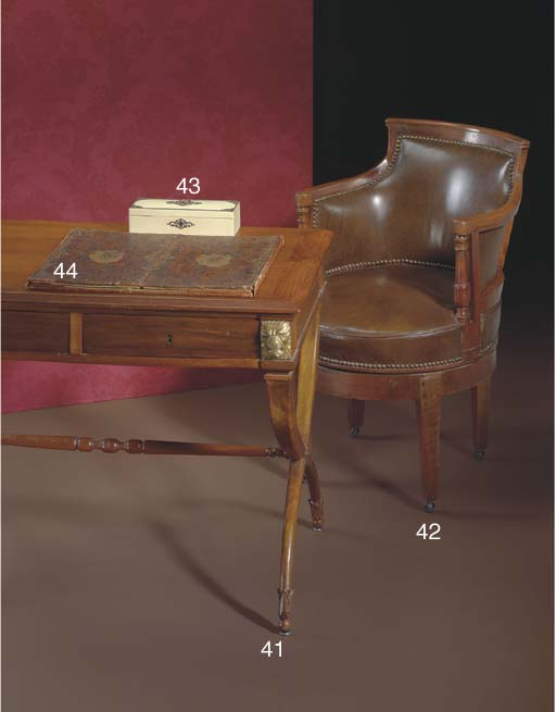 AN EMPIRE STYLE WALNUT AND ASH WRITING-TABLE