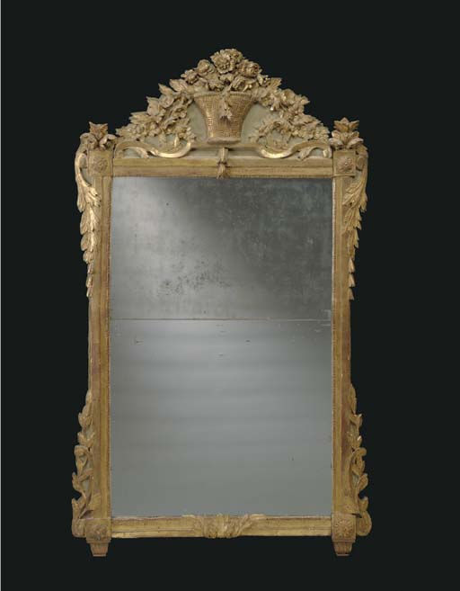 A LOUIS XVI GILTWOOD AND GREY-PAINTED MIRROR