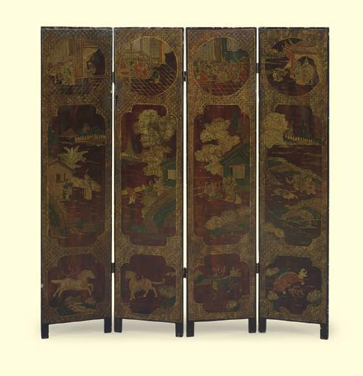 A CHINESE LACQUER FOUR-PANEL S