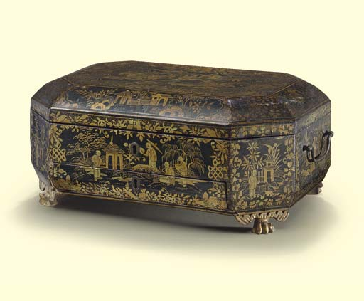 A CHINESE EXPORT BLACK AND GILT LACQUER SEWING BOX**