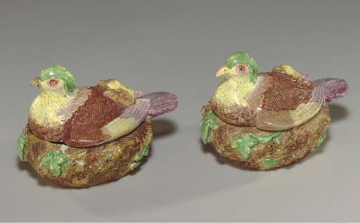 A PAIR OF STAFFORDSHIRE PEARLW