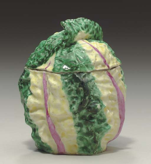 A DERBY CABBAGE-TUREEN AND COV