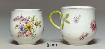 TWO CHELSEA BALUSTER CUPS AND