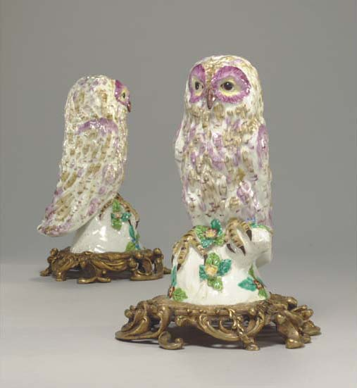 A pair of ormolu-mounted Bow models of tawny owls, circa 1755-60. 9 in (22.8  cm) high (2). Sold for $228,000 on 18 March 2005 at Christie's in New York