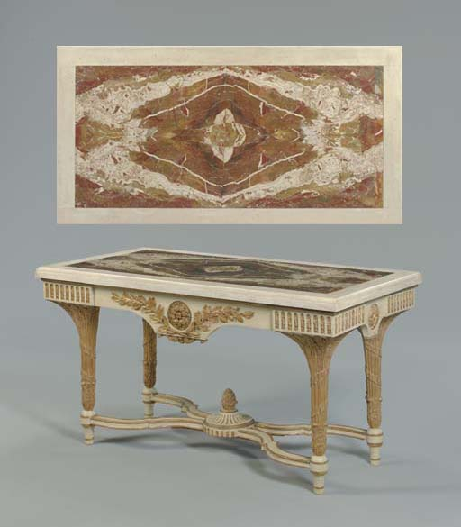 A CREAM-PAINTED AND PARCEL-GILT CENTER TABLE