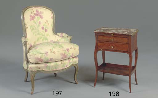 A LOUIS XV GREEN-PAINTED BERGE
