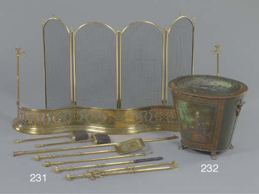 A GROUP OF ENGLISH BRASS FIREPLACE EQUIPMENT