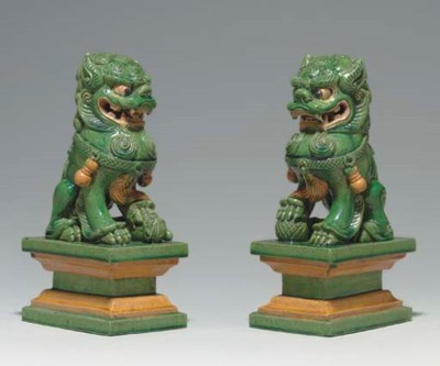 A PAIR OF GREEN, AMBER, CREAM-