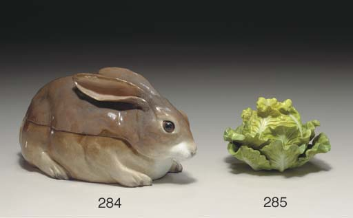 A MEISSEN (MARCOLINI) RABBIT TUREEN AND COVER