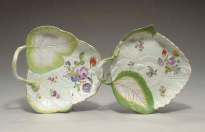 TWO MEISSEN LEAF-SHAPE DISHES