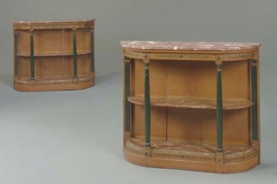 A PAIR OF FRENCH GRAIN-PAINTED