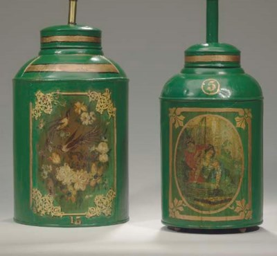 TWO VICTORIAN GREEN, POLYCHROM