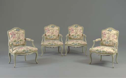 A SET OF FOUR LOUIS XV STYLE GREEN AND WHITE-PAINTED FAUTEUILS