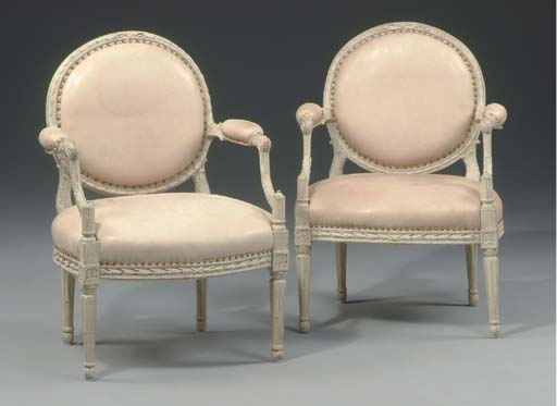 A PAIR OF NORTH EUROPEAN GREY-PAINTED OPEN ARMCHAIRS