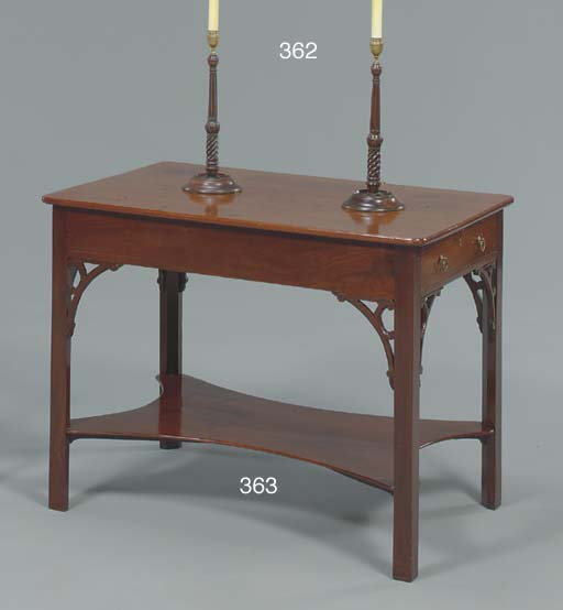 A PAIR OF ENGLISH BRASS AND MAHOGANY CANDLESTICKS MOUNTED AS LAMPS