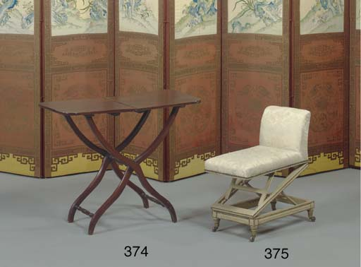 A VICTORIAN CREAM AND GREY-PAINTED GOUT STOOL