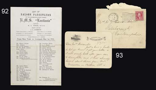 A first class passenger list f