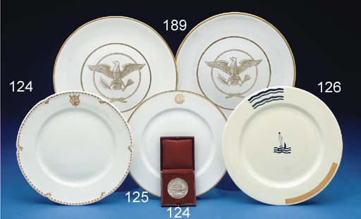 A dinner plate and medallion from the S.S. France (1912)