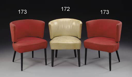 A pair of tub chairs from the Ballroom of the S.S. United States