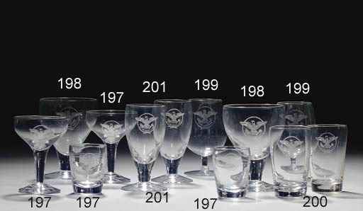 A set of six water goblets fro
