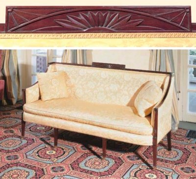 A FEDERAL CARVED MAHOGANY SOFA