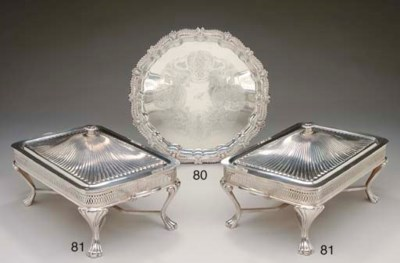 TWO SILVER-PLATED ENTREE STAND