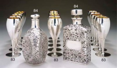 TWO SILVER-MOUNTED GLASS DECAN