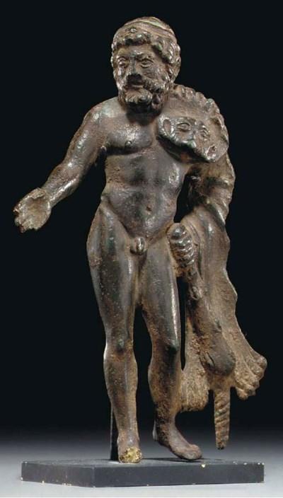 A ROMAN BRONZE HERCULES BIBAX
