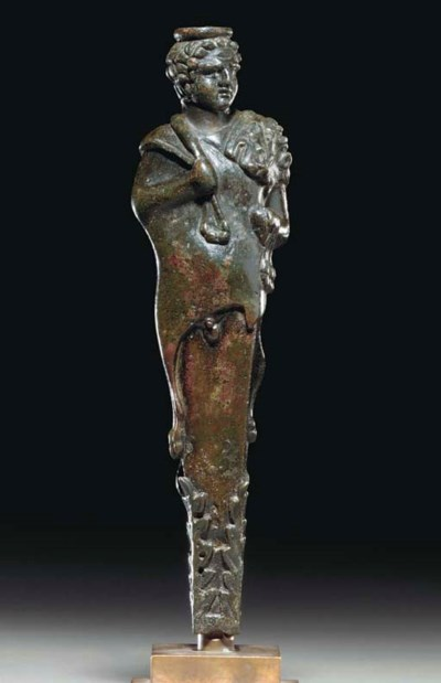A ROMAN BRONZE HERM OF HERCULE