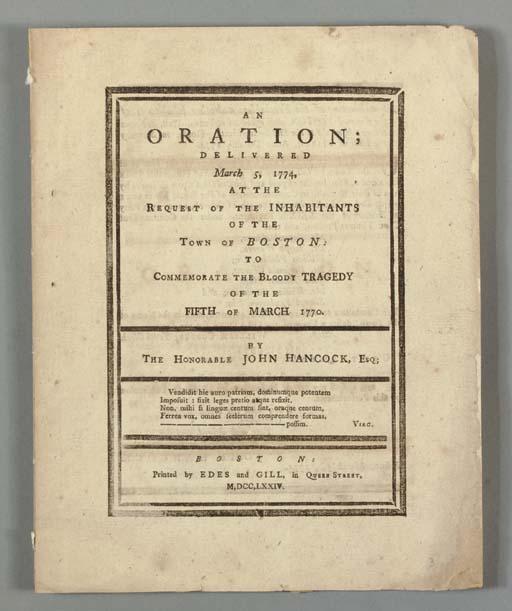 HANCOCK, John (1737-1793). An