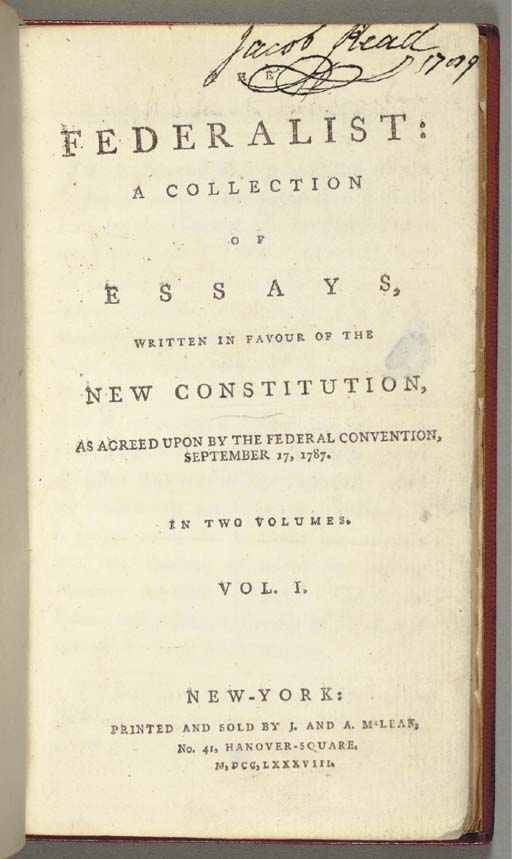 [THE FEDERALIST PAPERS]. [HAMI
