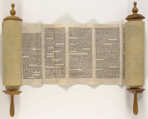 TORAH SCROLL, for use in the synagogue. Probably Italy, 18th or 19th century.