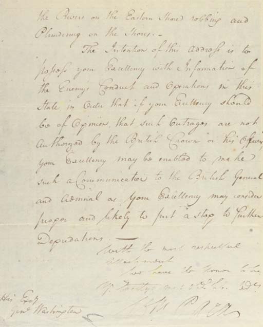 """PACA, William (1740-1799), Signer (Maryland). Autograph letter signed (""""Wm. Paca"""") as Governor of Maryland, to """"His Exc[ellenc]y George Washington,"""" Annapolis in Maryland, 21 February 1783. 3 pages, 4to, second sheet neatly inlaid, with recipient's docket partly in Washington's hand (""""...from Gov. Paca..."""")"""