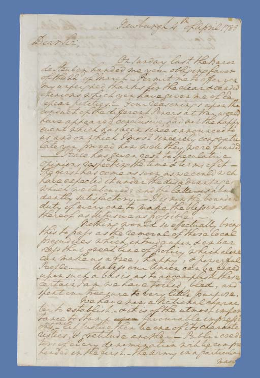 "WASHINGTON, George. Autograph letter signed (""G:o Washington"") to Theodorick Bland (1742-1790), Newburgh, N.Y., 4 April 1783. 4 pages, folio, folds and seal hole neatly repaired, catching portions of letters in some 13 words."