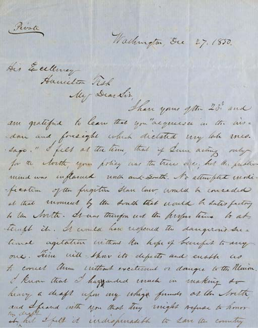"FILLMORE, Millard. Autograph letter signed (""Millard Fillmore""), as President, to Hamilton Fish, 27 December 1850. 3 pages, folio, slight foxing, one deficit on integral leaf, away from text."