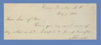 LINCOLN. Abraham. Autograph le