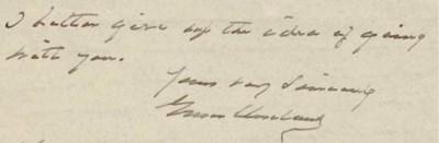 CLEVELAND, Grover. Autograph l