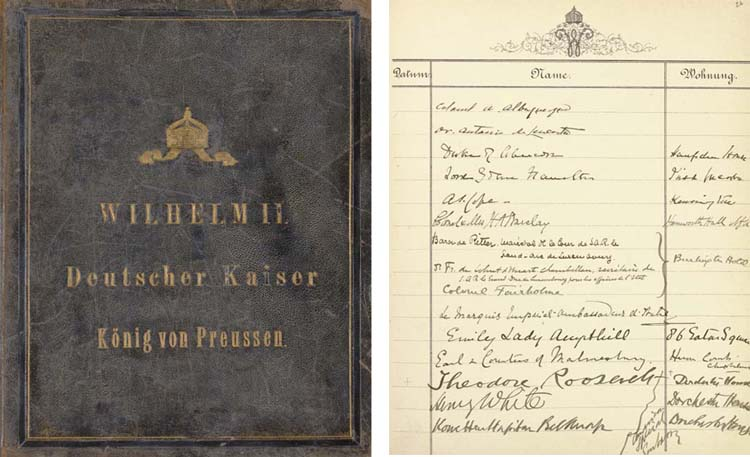"""Wilhelm II, Emperor of Germany, King of Prussia (1859-1941). Visitors' Book of the Kaiser, boldly titled in gilt on upper cover """"Wilhelm II  Deutscher Kaiser  Koenig von Preussen,"""" documenting guests and meetings at various locales (including Buckingham Palace, Amalienburg, Windsor, St. Petersburg and Constantinople), 1897-1911. 4to, 64 leaves (128pp.) on 80 leaves specially printed with Wilhelm's monogram at top, interleaved with sheets of pink blotting paper. Specially bound for the Kaiser in dark blue morocco, upper cover gilt-lettered and with the royal arms, decorative endpapers with the Prussian eagle (lightly rubbed)."""