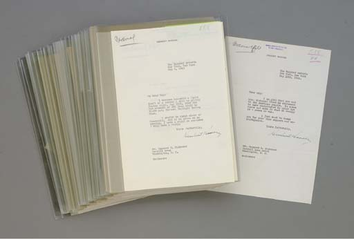HOOVER, Herbert. An archive of 70 typed letters signed from Hoover to Raymond S. Richmond, 26 June 1931 - 16 June 1964. Together 70 pages, 4to, a few with holograph postscripts, on personal stationery.