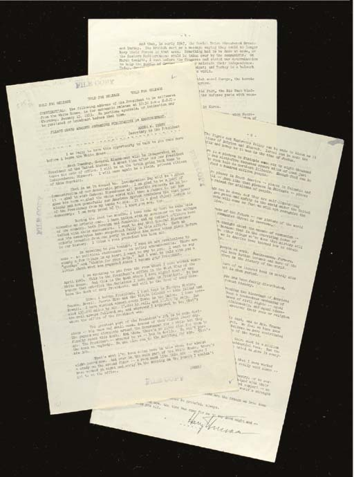 """TRUMAN, Harry S. Typescript signed (""""Harry S. Truman"""") as President, a mimeograph copy of his Farewell Address to the American People, Washington. D.C., 15 January 1953. 6 pages, folio, rectos only."""