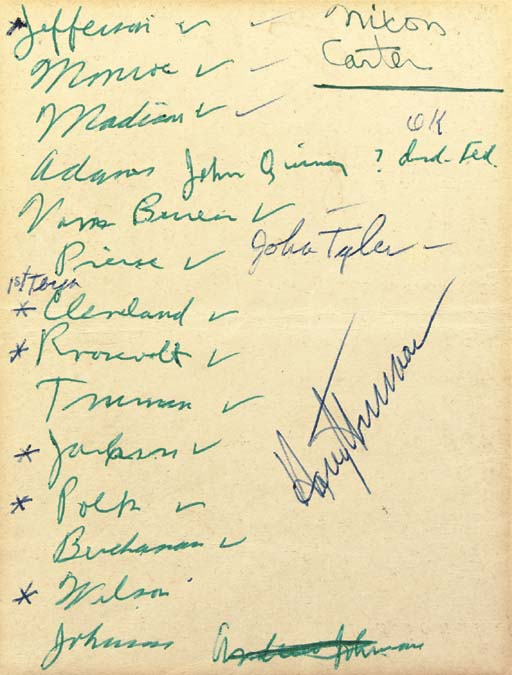 """TRUMAN, Harry S. Manuscript list of Democratic Presidents signed (""""Harry S. Truman""""), WITH HOLOGRAPH ADDITIONS IN TRUMAN'S HAND, n.d. 1 page, 8vo, on verso of a partial printed menu."""