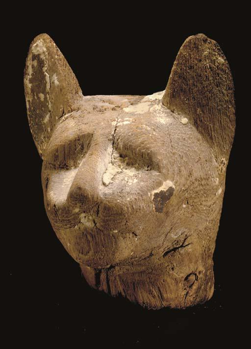 AN EGYPTIAN WOOD CAT HEAD