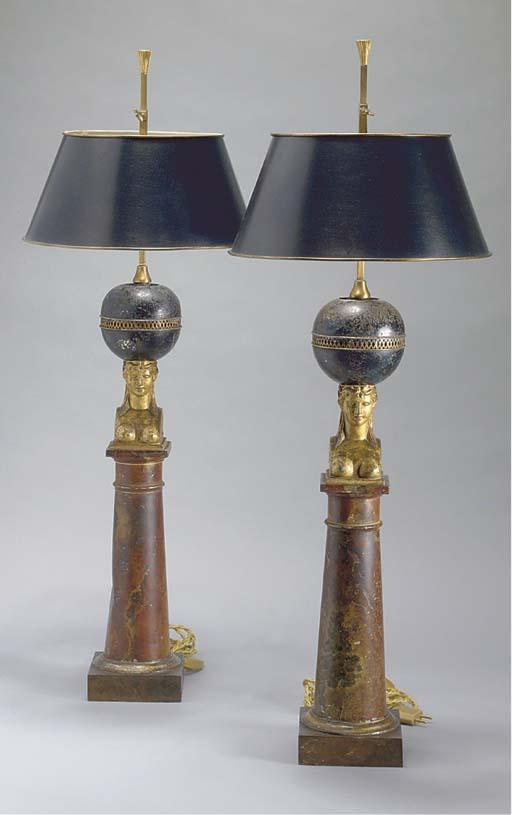 PAIRE DE LAMPES EN TOLE DU XIX