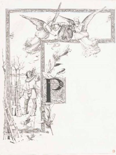 Luc-Olivier Merson (1846-1920) , La lettre P encadrée
