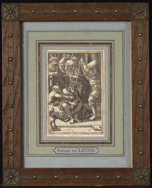 LUCAS DE LEYDE (1494-1533), CHRIST A LA COURONNE D'EPINES (H.49) burin, 1521, de la série La Passion, troisième et dernier état, impression tardive, petites marges, papier légèrement insolé, piqûres, salissures, déchirure de 2 cm. dans la partie inférieure droite de l'image, petit manque dans la marge supérieure gauche touchant le sujet, non examiné hors de son cadre en bois