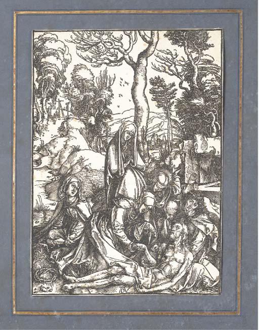 ALBRECHT DURER (1427-1502) LA LAMENTATION (B.13, M.122) bois gravé, circa 1496-1500, une planche de la série de la Grande Passion, bonne impression de l'édition de 1511, avec texte au dos, réduite à l'image, papier légèrement insolé, piqûres, salissures, quelques petites déchirures le long des bords, autrement bonne condition générale, cadre en bois doré sculpté